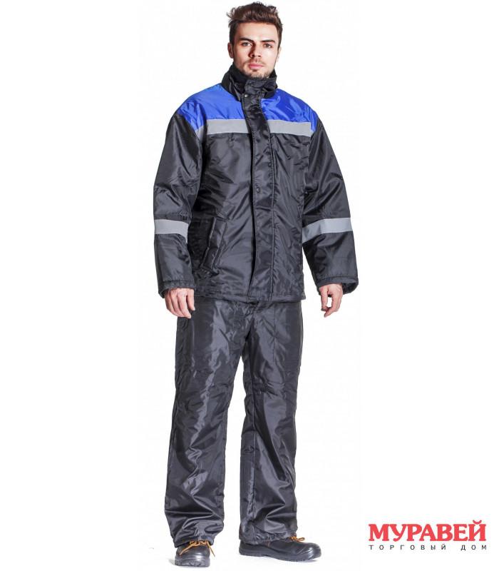 Куртка утепленная размер 48-50/5-6 черно-синяя
