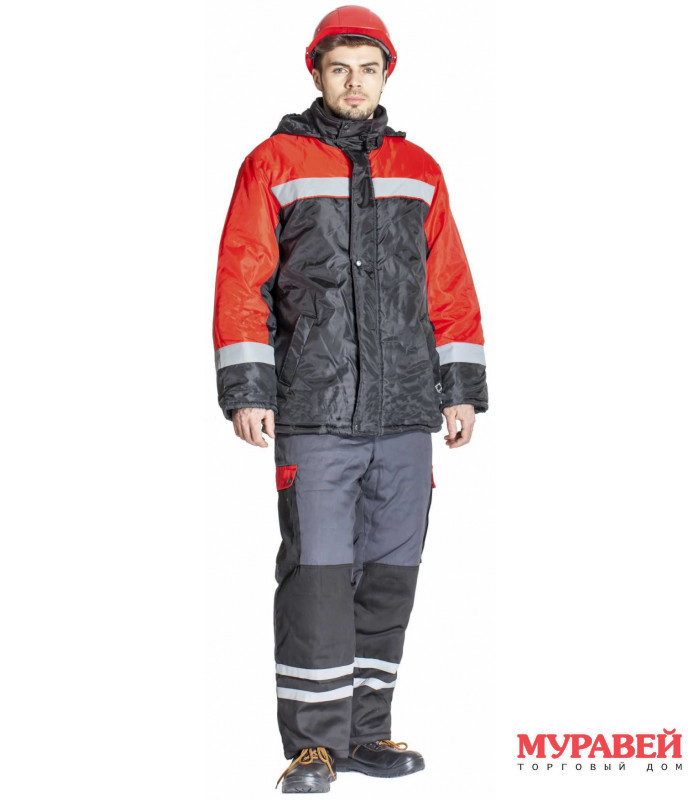 Куртка утепленная размер 52-54/3-4 черно-красная