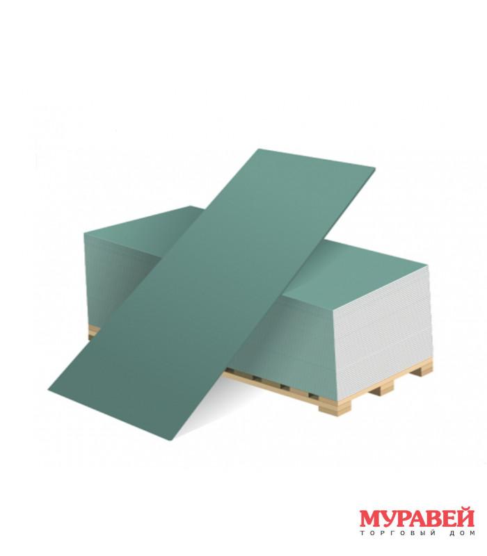 Гипсокартон 12,5 мм (влагостойкий), 1,2×2,5 м (ГКЛВ)