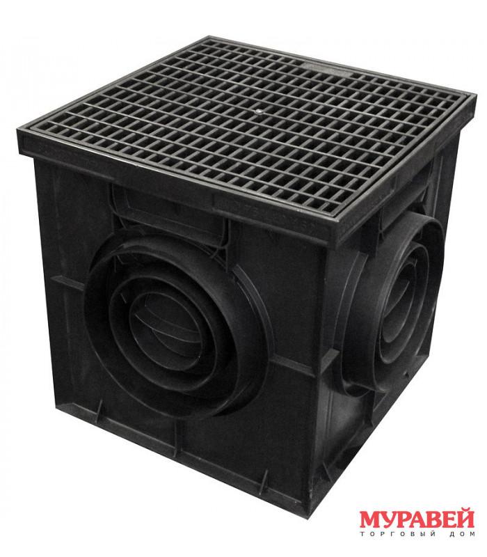 Комплект Водоприёмник с решёткой 200×200 чёрный