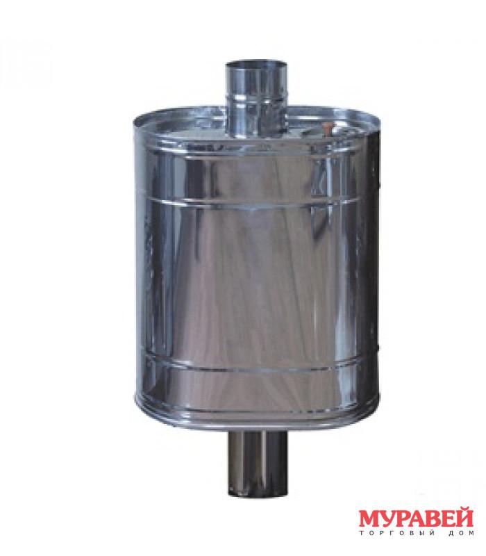 Бак для печи на трубе 70 л, ф115 мм, овальный, нерж. 0,8 мм