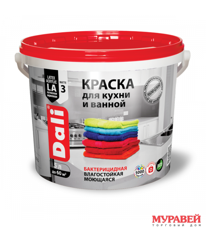 Краска водоэмульсионная для кухни и ванной 5 л Dali